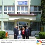 2 - John Stanton, Tudorita Albu, Carol Stanton and Theodor Valentin Purcarea at the entrance of  the European School St. O. Iosif Brasov