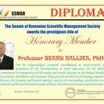 Diploma of Honorary Member of SSMAR, Professor Bernd Hallier