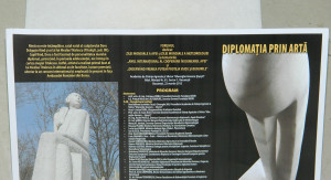 "26.	Poster Vernissage Sculpture Doru Dragusin, on ""Diplomacy through Art"" dedicated to the year ""Constantin Brancusi"""