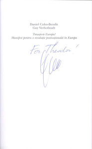 31. Valuable Author Autograph, Guy VERHOFSTADT, for Theodor PURCĂREA