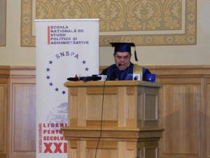 34. Professor Iordan Gheorghe BĂRBULESCU, President of NUPSPA Senate, reading the contents of the Diploma in Latin