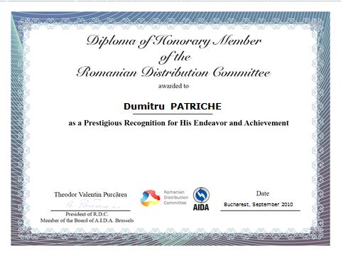3. Dumitru Patriche, Diploma of Honorary Member of the Romanian Distribution Committee