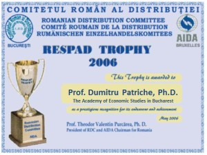 """4. Dumitru Patriche, Diploma """"RESPAD Trophy"""" awarded by the Romanian Distribution Committee"""
