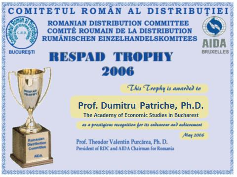 "4. Dumitru Patriche, Diploma ""RESPAD Trophy"" awarded by the Romanian Distribution Committee"