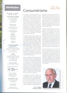 Léon F. WEGNEZ, Consumerisme, Distribution d'aujourd'hui, 55ème année, Juin 2014, Bruxelles