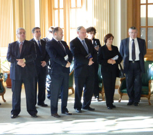 20.His Excellency, Philippe BEKE, Ambassador of Belgium in Romania, in the middle of the group of distinguished participants at the book launches