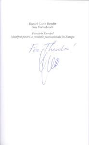 31. Valuable Author Autograph, Guy VERHOFSTADT, for Theodor PURCĂREA