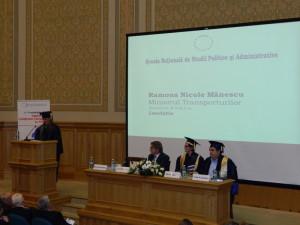 6.Mrs. Ramona Nicole MĂNESCU, Minister of Transports, and a NUPSPA alumna,  reading the Laudatio