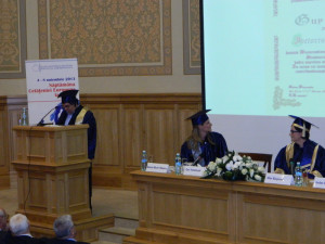 8.Professor Iordan Gheorghe BĂRBULESCU, President of NUPSPA Senate (who read the contents of the Diploma in Latin)
