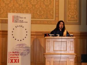 32. Dean Nicoleta CORBU, College of Communication and Public Relations, NUPSPA, reading the Laudatio