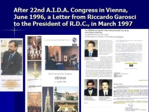 AIDA International Conference, June 1996, Vienna and Letter of Riccardo Garosci, March 1997